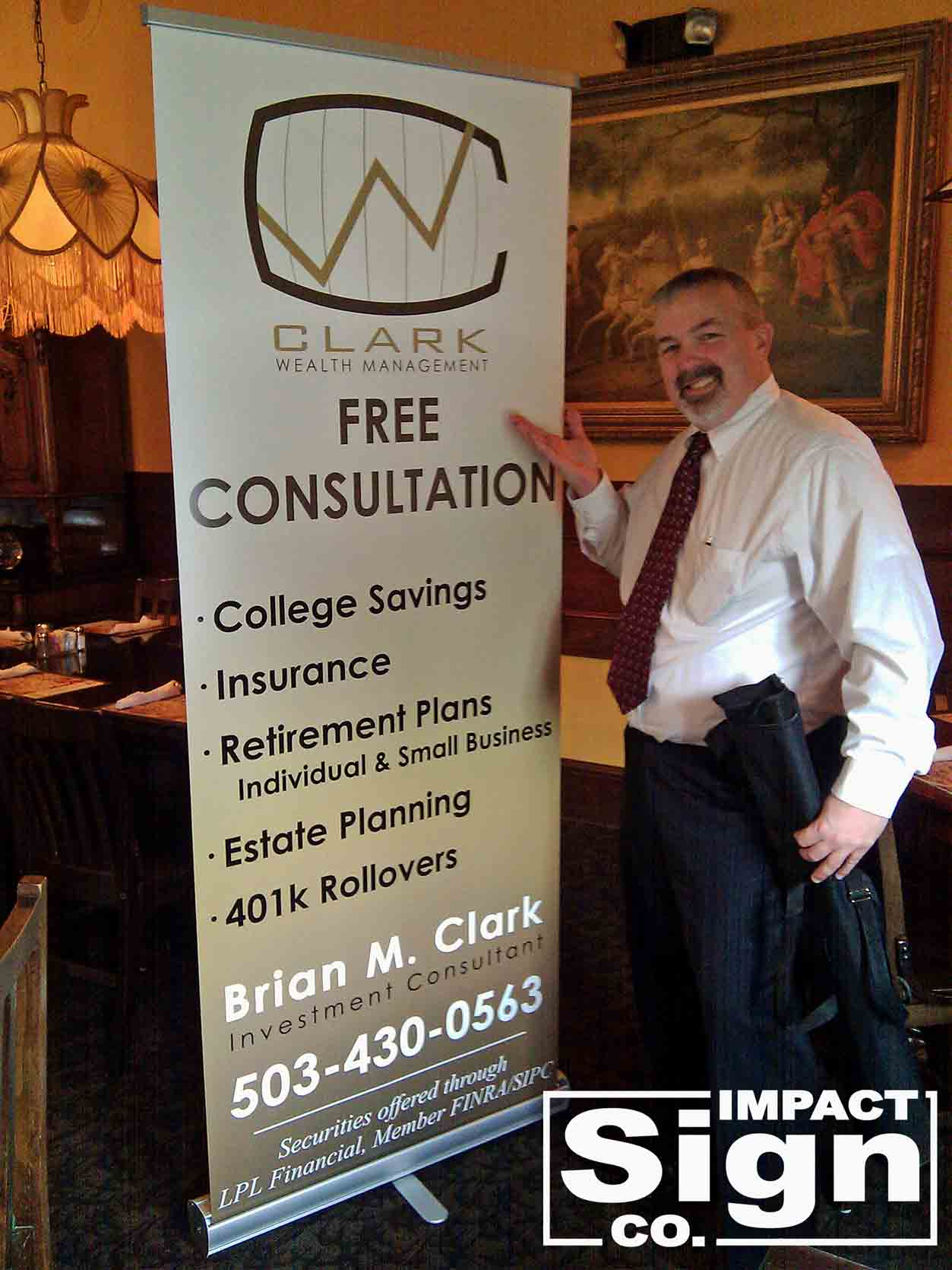 Clark Wealth Management Pull Up Banner Trade Show Sign